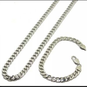 "Other - 24"" stainless steel Cuban chain bracelet set"